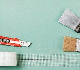 Drywall repair tools and materials