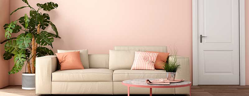 Living Room with Sandy Pink Color Wall